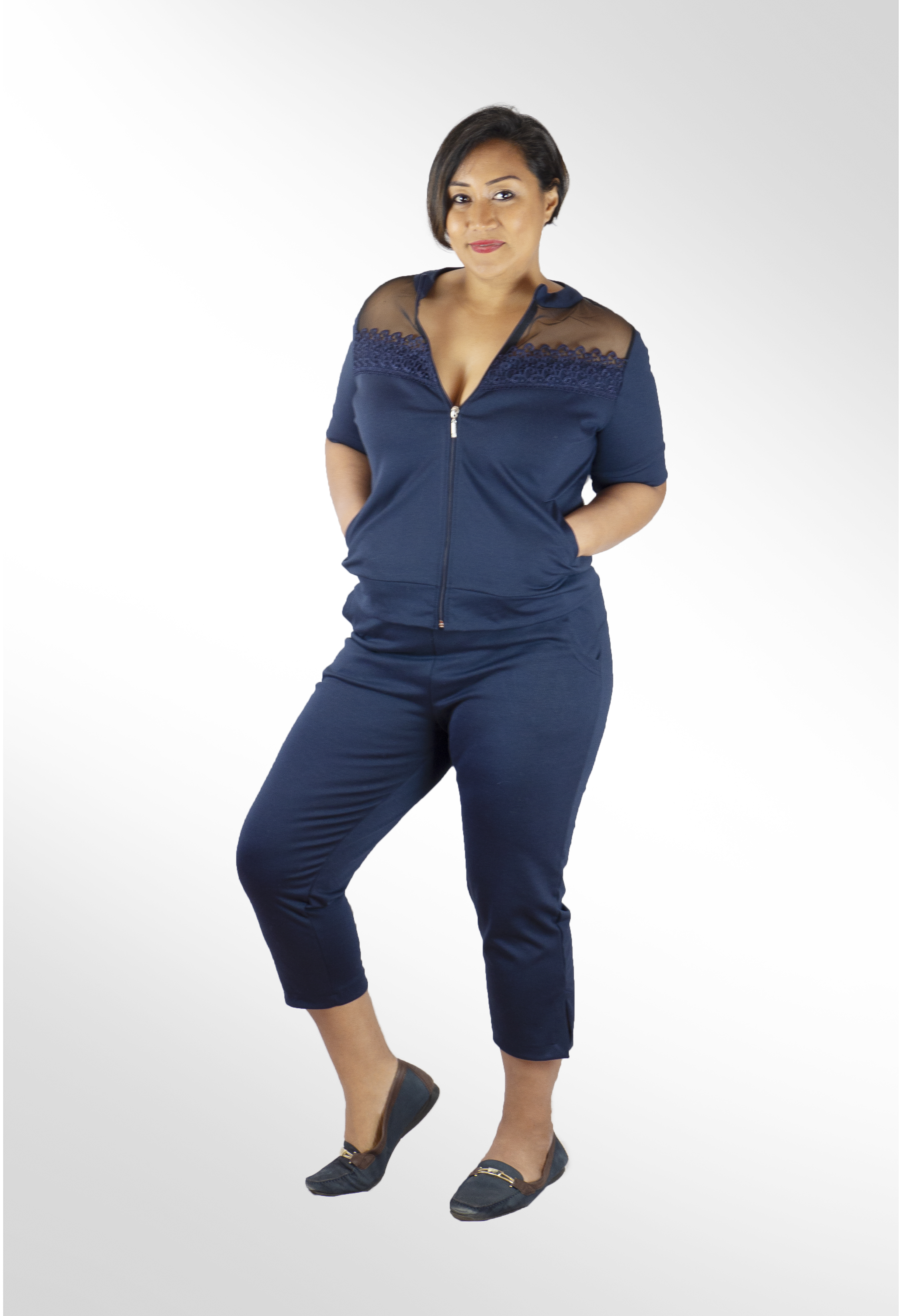 187340fa68946 Plus Size Lace Activewear Top and Pants in Navy
